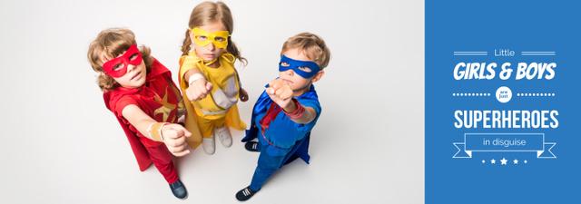 Plantilla de diseño de Kids in Superheroes Costumes Tumblr
