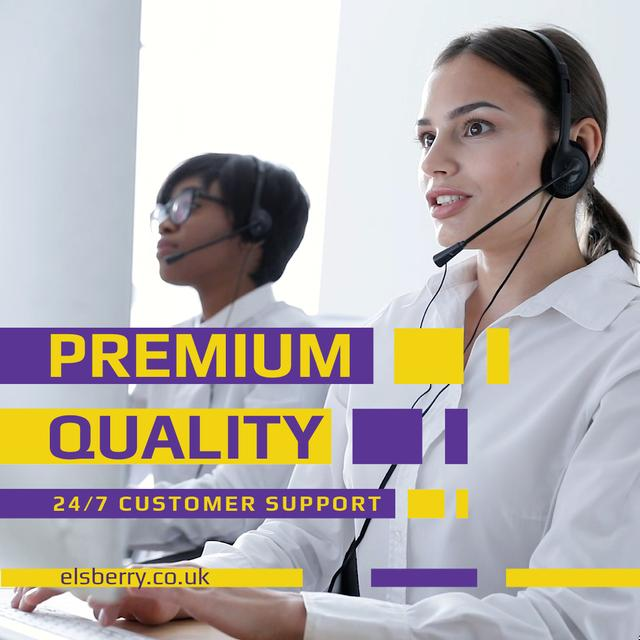 Customers Support with Smiling Assistant in Headset Animated Post Tasarım Şablonu
