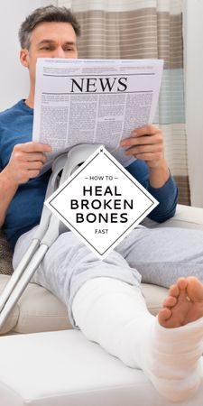 Man with Broken Leg reading Newspaper Graphic – шаблон для дизайна