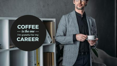 Citation about Coffee with Businessman Presentation Wideデザインテンプレート