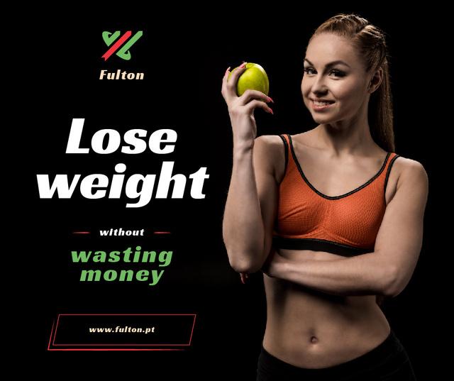 Weight Loss Program Ad Fit Smiling Woman Facebook Modelo de Design