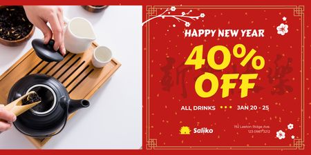 Plantilla de diseño de New Year Offer with Woman Brewing Tea Twitter