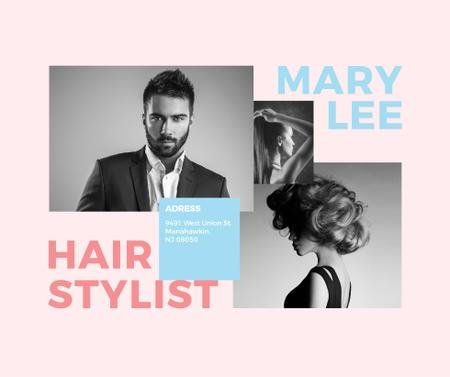 Ontwerpsjabloon van Facebook van Hair Salon Ad Woman and Man with modern hairstyles