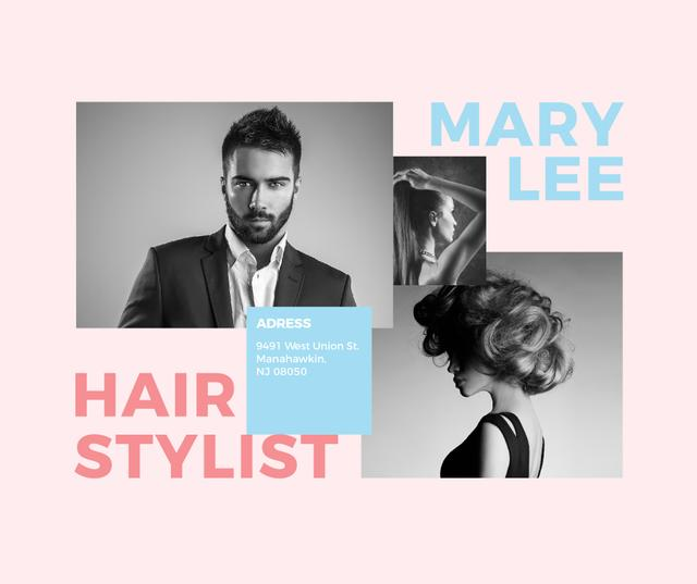 Hair Salon Ad Woman and Man with modern hairstyles Facebook – шаблон для дизайну