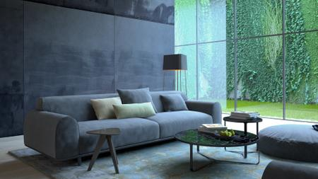Plantilla de diseño de Modern Interior with Sofa in grey Zoom Background