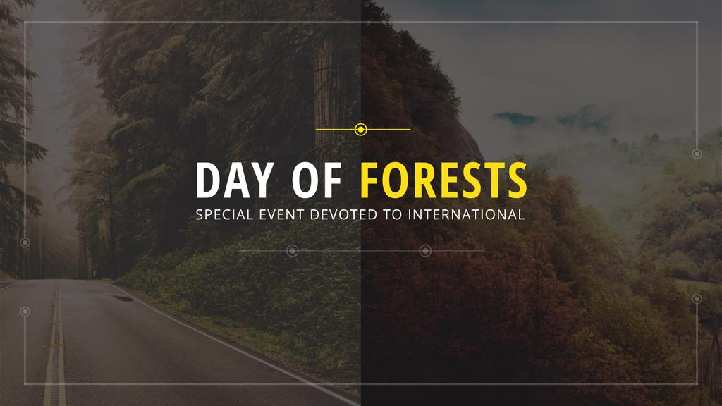 International Day of Forests Event Forest Road View | Youtube Channel Art — Maak een ontwerp
