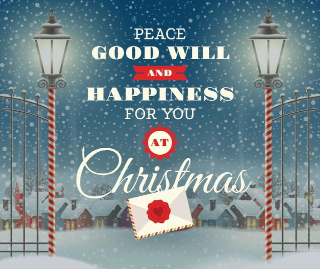 Template di design Merry Christmas letter in winter Facebook