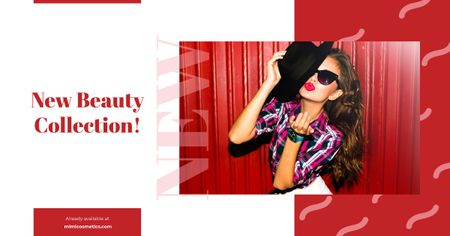 Ontwerpsjabloon van Facebook AD van Beautiful Young Girl in Sunglasses in Red