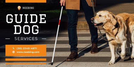 Template di design Guide Dog Services Ad with Man and Labrador Twitter