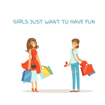 Cheerful girls with shopping bags