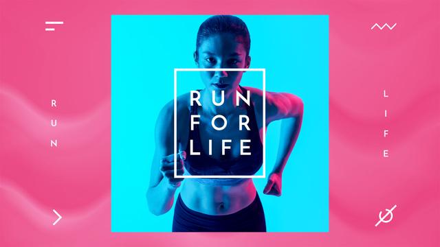 Woman Runner in Neon Light Full HD video Tasarım Şablonu