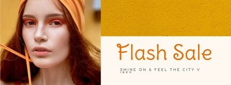 Fashion Sale stylish Woman in Orange Facebook cover Design Template