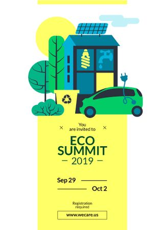 Eco Summit concept with Sustainable Technologies Invitationデザインテンプレート