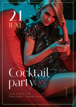 Cocktail Party Invitation Woman in Shiny Dress
