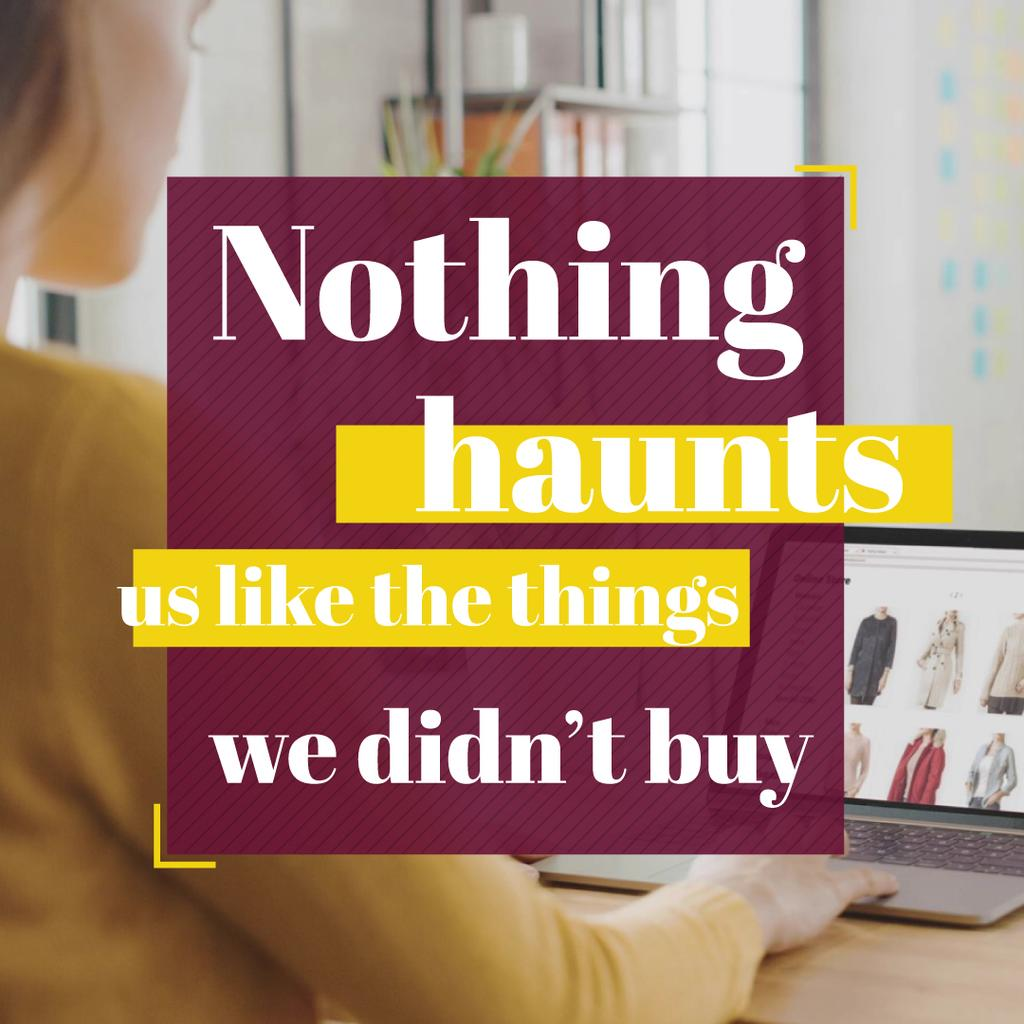 Consumerism Quote with Woman Shopping Online — Maak een ontwerp