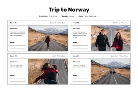 Couple travelling on Road in Norway Storyboard Modelo de Design