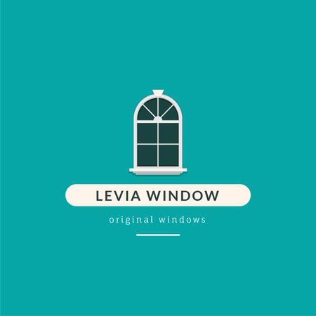 Window Installation Services Ad in Blue Logo Design Template