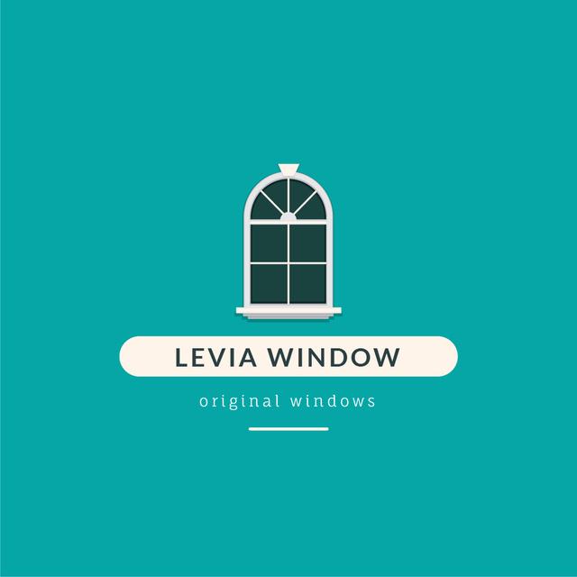 Window Installation Services Ad in Blue Logo Design Template