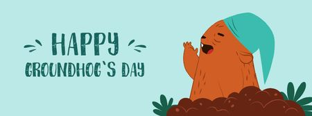 Happy Groundhog Day with funny animal Facebook Video cover Design Template