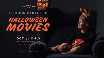 Halloween Movies Parade Announcement Girl in Costume | Facebook Event Cover Template