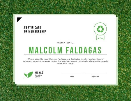 Zero waste center Membership on green grass Certificate Modelo de Design