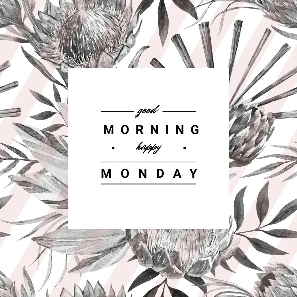 good morning happy monday poster with flowers instagram