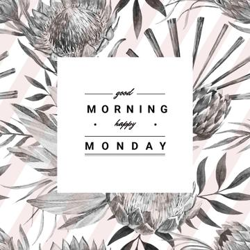 Good morning happy monday poster with flowers