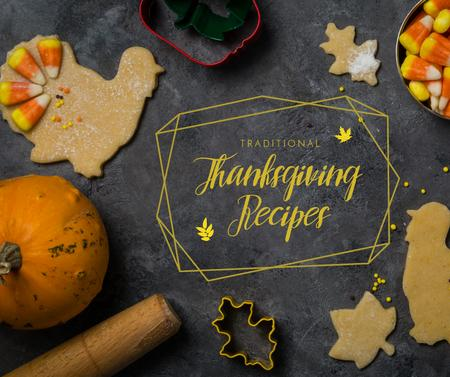Ontwerpsjabloon van Facebook van Cooking Thanksgiving cookies and sweets