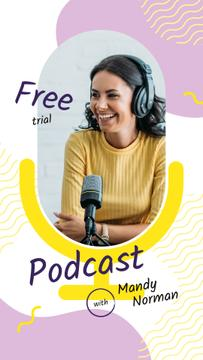 Radio Podcast Announcement Smiling Presenter | Stories Template