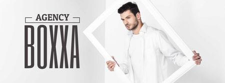 Creative agency ad Man Holding Frame in White Facebook cover Modelo de Design
