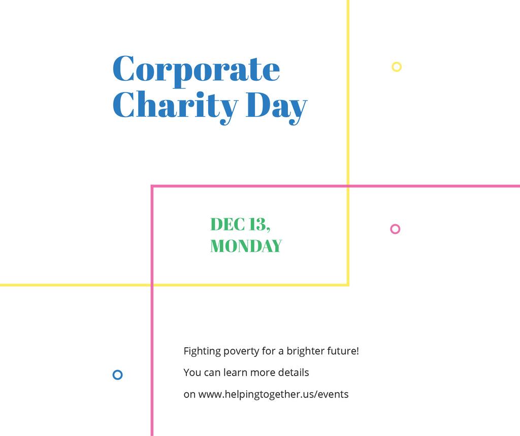 Corporate Charity Day on simple lines Facebook Modelo de Design