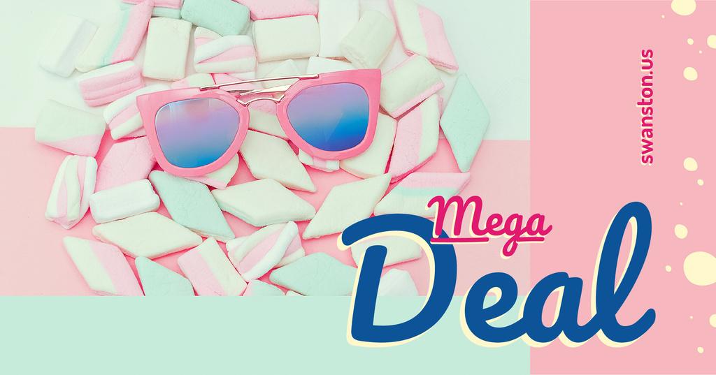 Stylish pink Sunglasses on marshmallows — Créer un visuel