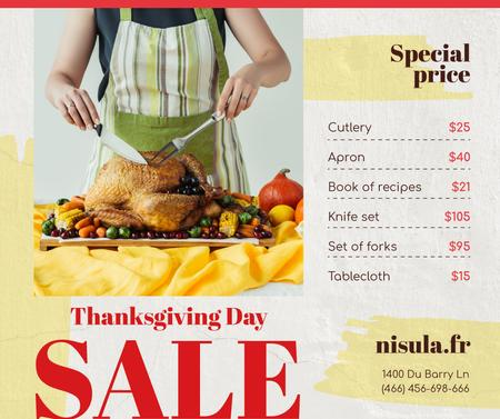 Template di design Thanksgiving Sale Woman Cutting Roasted Turkey Facebook