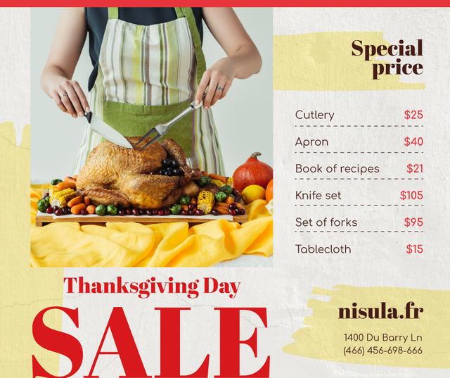 Thanksgiving Sale Woman Cutting Roasted Turkey Facebook Tasarım Şablonu