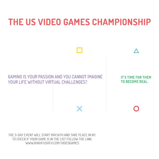 Video Games Championship announcement Instagram AD Modelo de Design