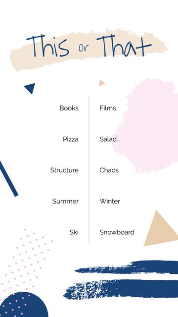 Template di design This or That Form on geometric figures background Instagram Story