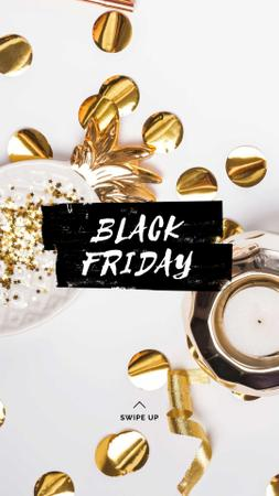 Black Friday sale with golden confetti Instagram Story – шаблон для дизайну