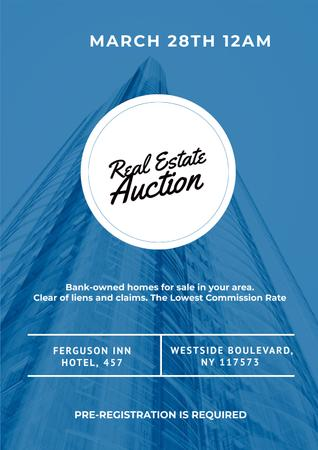 Real Estate Auction with Skyscraper in Blue Poster Modelo de Design