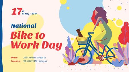 Bike to Work Day Greeting Girl Riding Bicycle FB event cover Modelo de Design