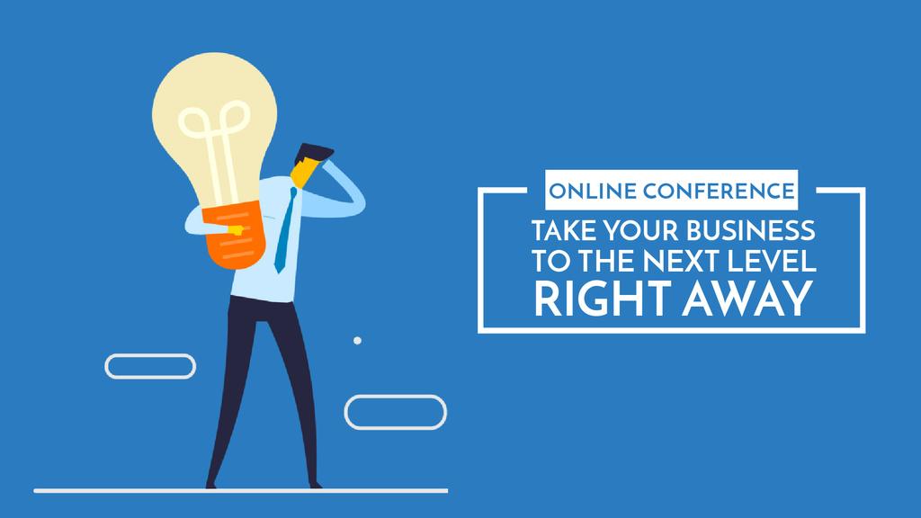 Businessman holding light bulb — Crea un design