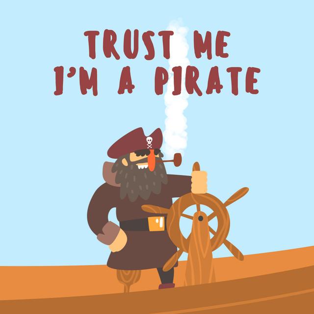 Ontwerpsjabloon van Animated Post van Pirate rotating steering wheel