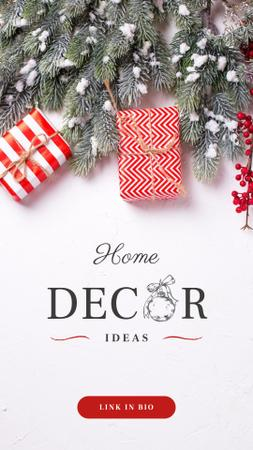 Modèle de visuel Home Decor ideas with Christmas gift boxes - Instagram Story