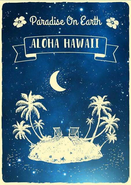 Illustration of Tropical Island in Blue Poster Modelo de Design