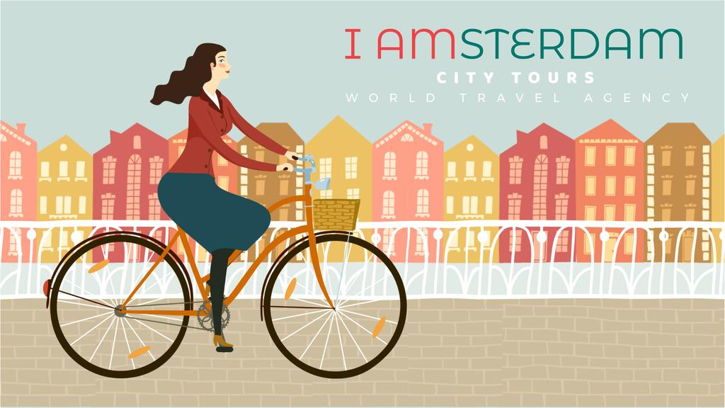 Girl riding bicycle in city — Create a Design