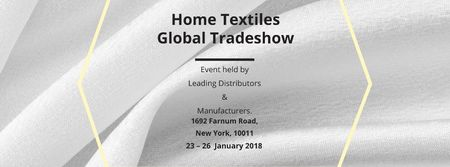 Plantilla de diseño de Home Textiles Events Announcement with White Silk Facebook cover
