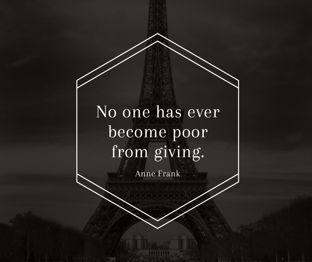 Charity Quote on Eiffel Tower view Facebook Modelo de Design