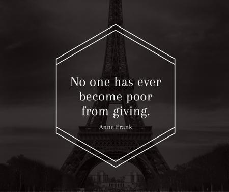 Szablon projektu Charity Quote on Eiffel Tower view Facebook