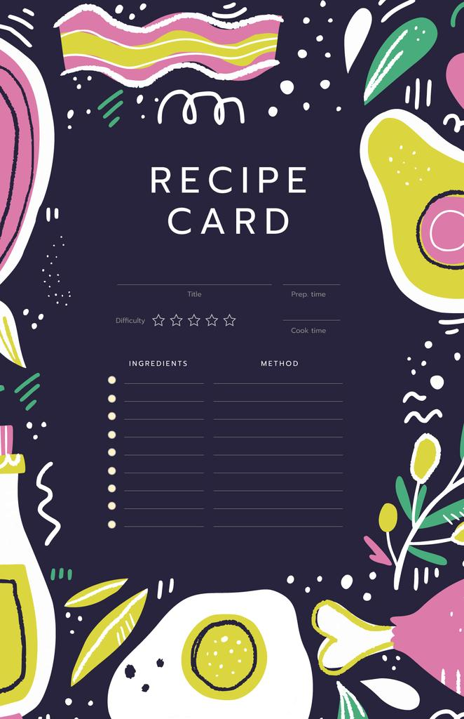 Bright illustration of Food Recipe Card Modelo de Design