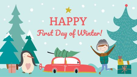 First day of winter with Happy Kid Title Modelo de Design