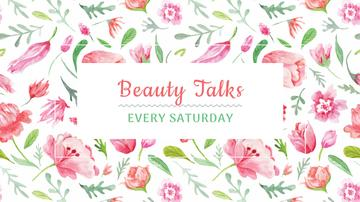 Beauty Event Announcement with Watercolor Flowers Pattern